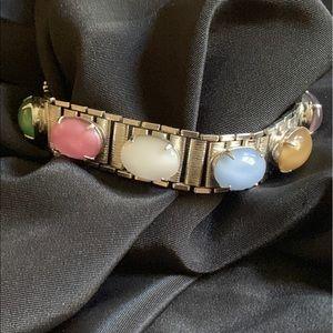 Silver Tone & Multicolor Glass Cabochon Bracelet